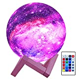 HYODREAM 3D Moon Lamp Kids Night Light Galaxy Lamp 16 Colors LED Light with Rechargeable Battery Touch & Remote Control as Birthday Gifts for Boys/Girls/Kids