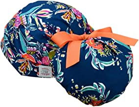 Womens Ponytail Surgical Scrub Hat Large (Zinnias)
