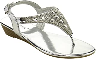 Serena-15K Girl's Toddler Glitter Rhinestone T-Strap Thong Wedge Sandals