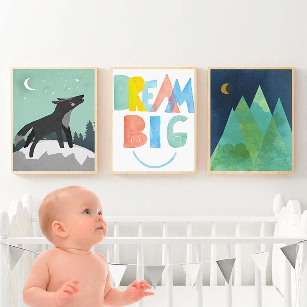 zuomo low-pricing Abstract Wolf Mountain Max 44% OFF Whale Wall Canvas Painting Nursery