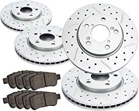 Beyond Your Thoughts Front&Rear Brake Kits Replacement Compatible Fit for 2005 2006 2007 2008 2009 2010 Honda Odyssey 4 Drilled Slotted Geomet Coating Brake Rotors & 8 Ceramic Pads (31368 & 31369)