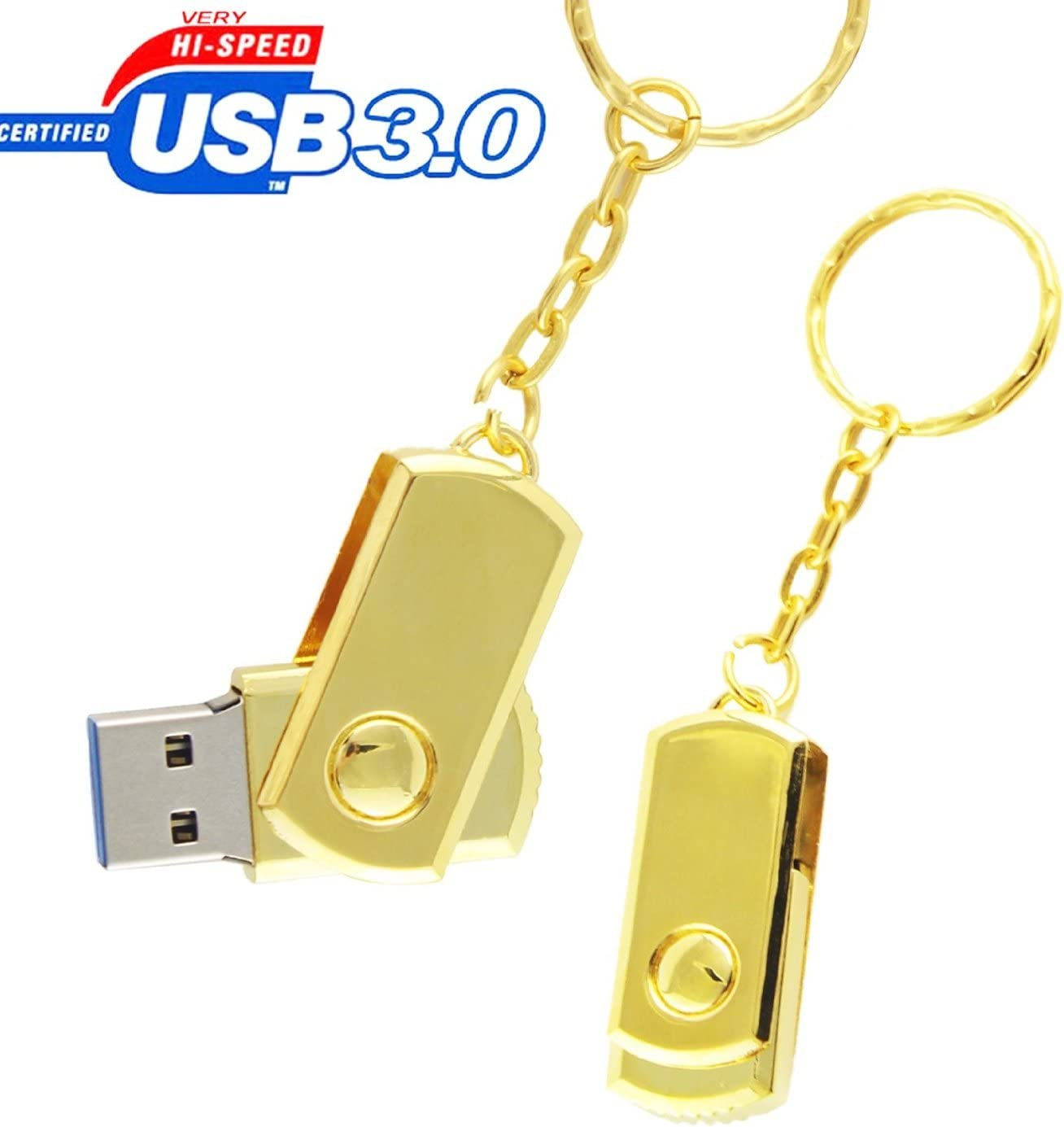 YC 3.0 USB Metal Thin Key Flash Memory Stick Pen Drive (32GB, 3 Pack Metal)