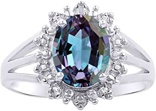 Diamond & Simulated Alexandrite Ring Set in Sterling Silver .925 - Princess Diana Inspired Halo Designer Style