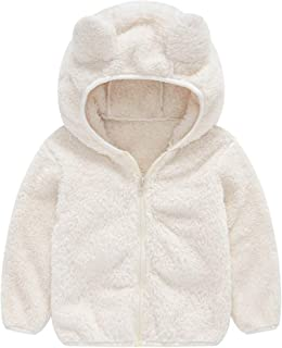 WOCACHI Baby Fleece Coat, Infant Toddler Girls Boys Cute Bear Ears Zipper Fuzzy Thick Hooded Jacket Warm Outwear