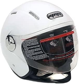 MMG 51 Motorcycle Scooter Open Face Helmet Pilot Flip Up Visor DOT, White Glossy Finish, Medium