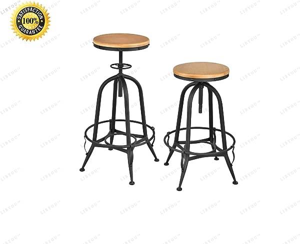 利宝酒吧凳子套装金属凳子家用酒吧家具木顶凳子可调节旋转酒吧凳子钢架凳子无靠背凳子旋转柜台凳子厨房餐椅