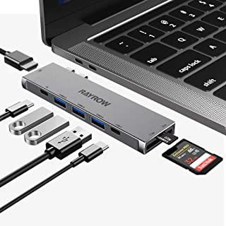 USB C Hub for MacBook Pro, USB Type C to HDMI Hub with 3 USB3.0 Ports, TF/SD Card Reader, USB C Power Delivery & Datas Tra...