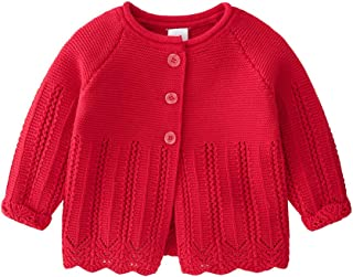 2020 Spring and Autumn New Korean Baby Cotton Knit Cardigan Girls Simple Hollow Single Breasted Wool Coat Top,Red,59cm
