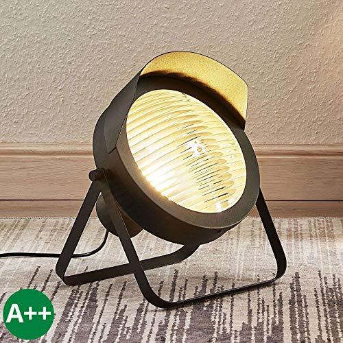Lampenwelt Tischlampe 'Henega' (Retro, Vintage, Antik) in Schwarz aus Metall u.a. für Wohnzimmer & Esszimmer (1 flammig, E27, A++) - Tischleuchte, Schreibtischlampe, Nachttischlampe, Wohnzimmerlampe