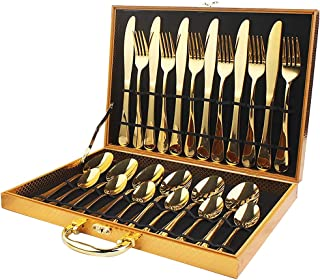 Stainless Steel Golden Tableware - 24 Pieces