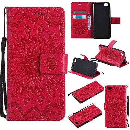 pinlu® PU Leder Tasche Etui Schutzhülle für Xiaomi Mi5 Lederhülle Schale Flip Cover Tasche mit Standfunktion Sonnenblume Muster Hülle (Rot)