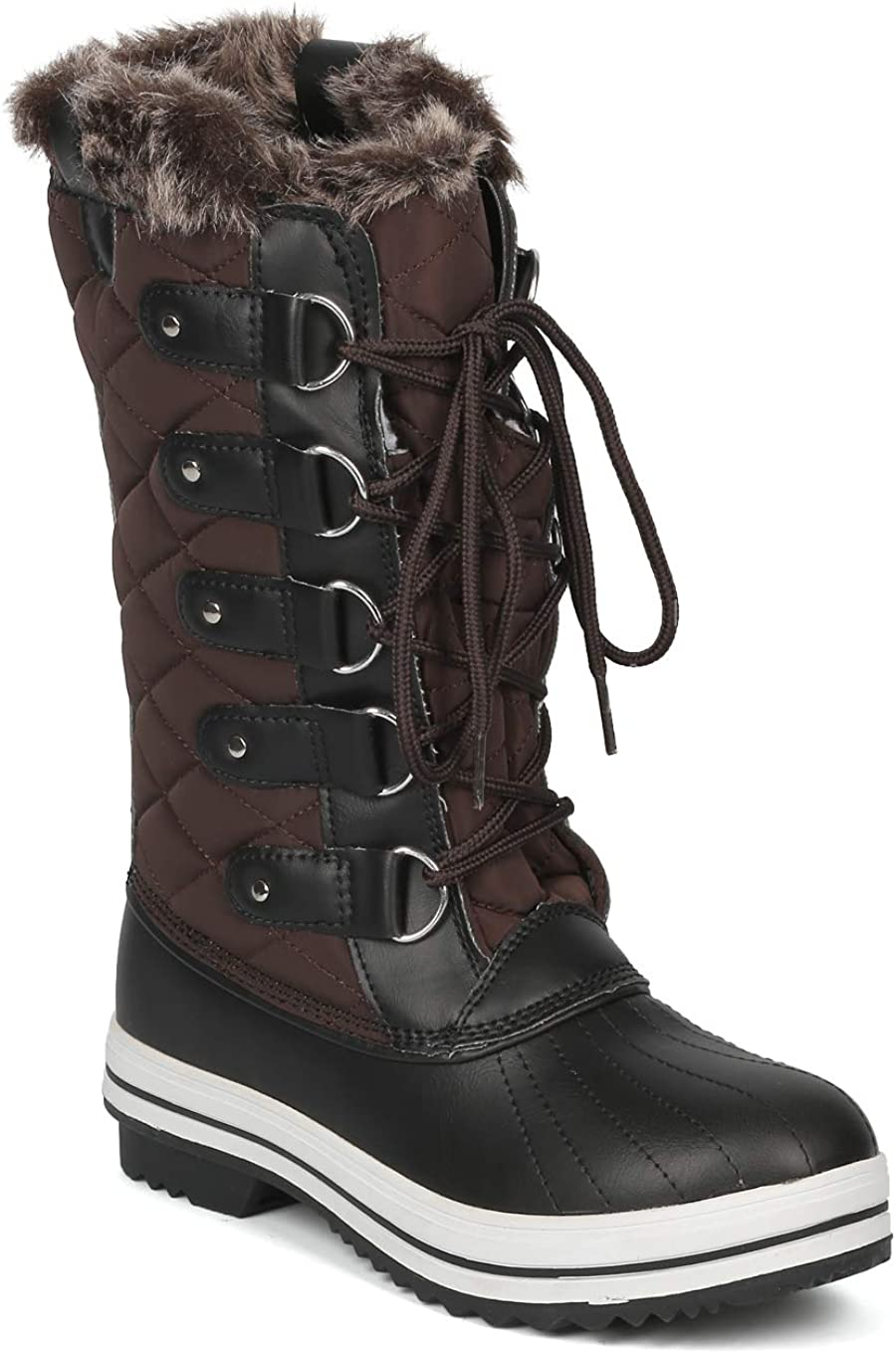 Alrisco Women Mixed Media Mid-Calf Quilted Lace Up Fur Shearling Winter Boot - IB54 - Brown (Size: 6.0)