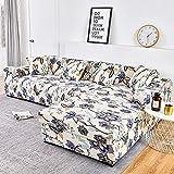 Funda de sofá elástica Funda de algodón para sofá Fundas de sofá para Sala de Estar (Debe Pedir 2 Piezas) para Adaptarse al sofá de Esquina A2 de 2 plazas