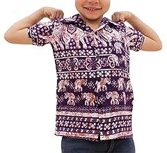 Raan Pah Muang Childrens Hawaiian Summer Smart Shirt Printed Rayon Asian Elephant Art