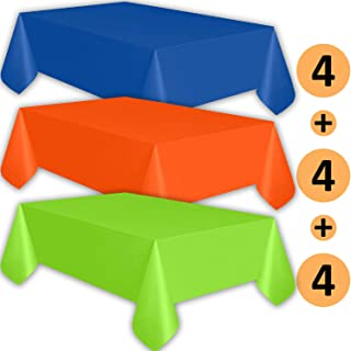 12 Plastic Tablecloths - Sapphire Blue, Orange, Lime Green - Premium Thickness Disposable Table Cover, 108 x 54 Inch, 4 Each Color