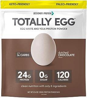 Designer Protein Totally Egg, Dutch Chocolate, 12.4 Oz, Paleo-friendly Egg White & Yolk Protein Powder