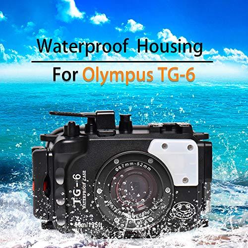 Sea frogs Cámara subacuática para Olympus TG-6 195FT/60M resistente al agua, carcasa de buceo negra (carcasa + filtro rojo)