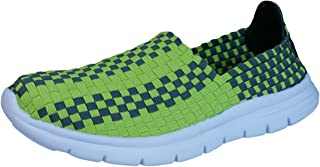 Air Tech Pessoa Womens Slip On Woven Trainers/Shoes - Lime Green