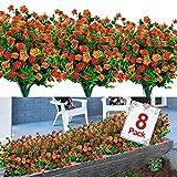 8PCS Artificial Flowers Outdoor UV...