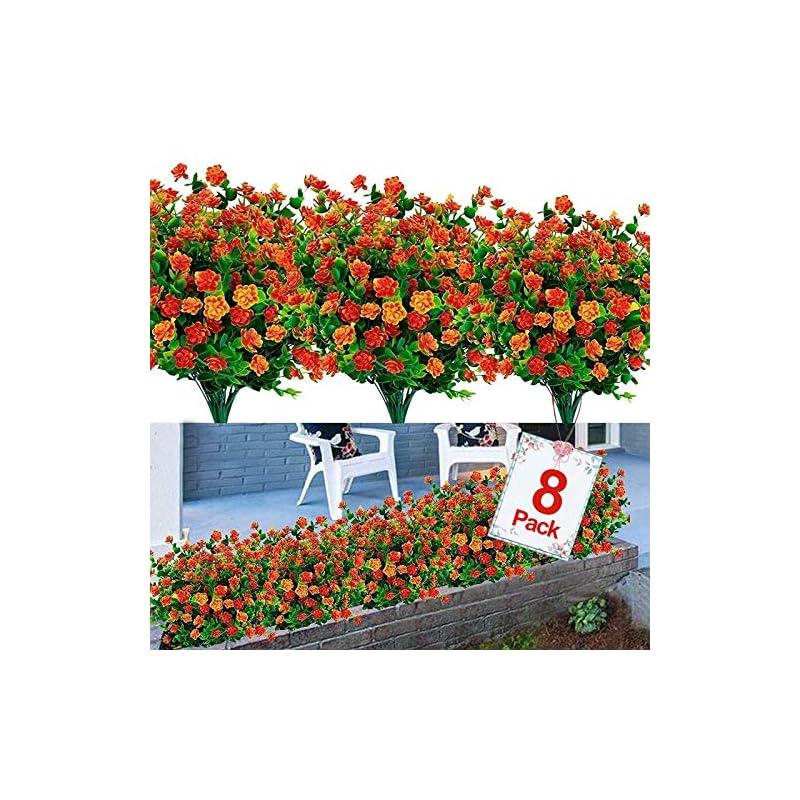 silk flower arrangements 8pcs artificial flowers outdoor uv resistant plants, 8 branches faux plastic corn-flower greenery shrubs plants indoor outside hanging planter kitchen home wedding office garden decor (orange)