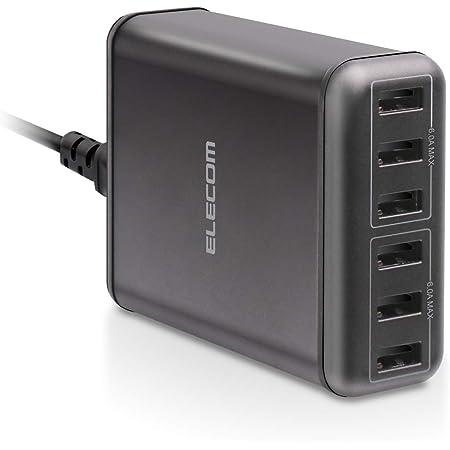 エレコム USB コンセント 充電器 合計60W Aポート×6 【 iPhone / Android / タブレット 対応 】 ブラック EC-ACD01BK