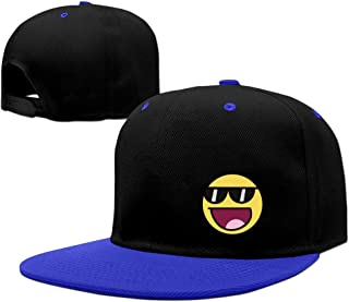 DFHH Lovely Smiley Face With Sunglass Emoji Fun Flat Brim Snapback Hat Cool