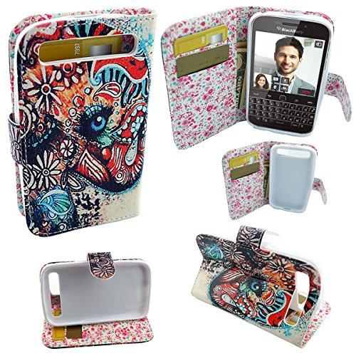 Mstechcorp - BlackBerry Classic Q20 Smartphone (New) 2014 Case - Design Dual-Use Flip PU Leather Fold Wallet Pouch Case for BlackBerry Classic Smartphone Q20 (Single Colorful Elephant)
