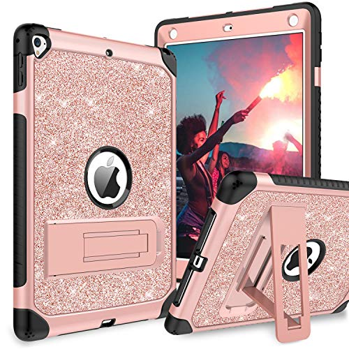 YINLAI iPad Air 2/iPad 9.7 2018/2017/Pro 9.7 Case,iPad 5th/6th Generation Case,Glitter Three Layers Full Body Protective Kickstand PU Leather Shockproof Girls Women Kids Tablet Cover,Rose Gold/Pink