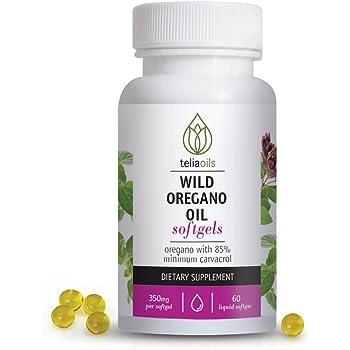 Teliaoils Wild Oregano Oil Softgels Capsules. High Carvacrol, top Quality, 60 Softgels