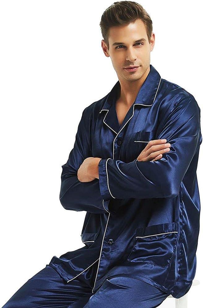 HONGJIU Mens Silk Pajamas Set,Mens Summer Pajamas,Mens Satin Long Button-Down Pajamas Set S~4XL (Color : Navy Blue, Size : XXXX-Large)