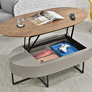 New Pacific Direct Hansel Lift-Top Oval Coffee Table, Walnut/Gray