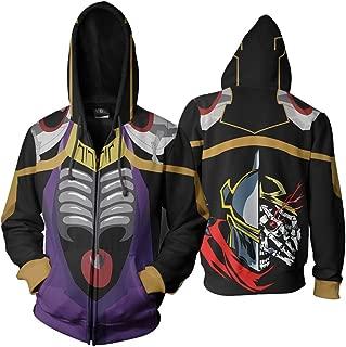Overlord Momonga Zip Up Hooded Jacket 3D Print Anime Manga Hoodies Sweatshirt Long Sleeves