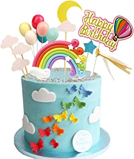 Rainbow Birthday Cake Topper Party Supplies with Rainbow Clouds Balloons Happy Birthday Cake Decorations for Rainbow Theme...