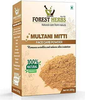 Forest Herbs 100% Natural Organic Multani Mitti Powder (Fuller Earth) Premium Grade for Face Skin and Hair Packs, 100Gms