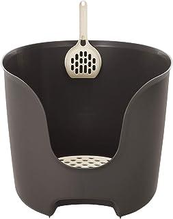 リッチェル 猫用トイレ本体 ラプレ 壁高ネコトイレ ダークグレー 1個 (x 1)