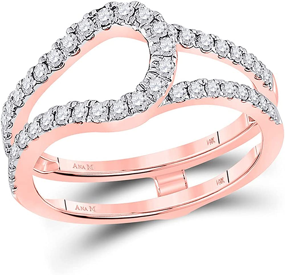 14kt Rose Gold Womens Round Diamond Wrap Ring Guard Enhancer 1/2 Cttw