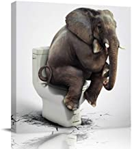 Square Wall Art Canvas Oil Painting, Funny Elephant Sitting on The Toilet Animal Picture Office Artworks for Bedroom Livin...