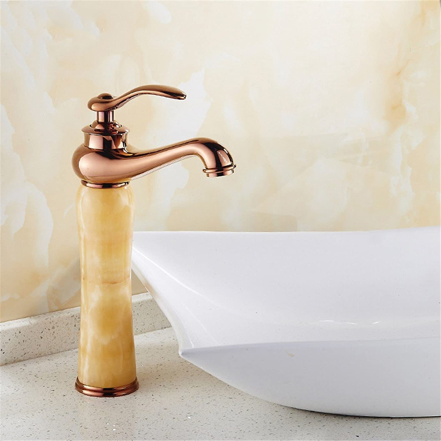 Hlluya Professional Sink Mixer Tap Kitchen Faucet Tap pink gold basin of hot and cold natural Green Jade Sinks Faucets full copper Washbasin Faucet, Wong Yuk
