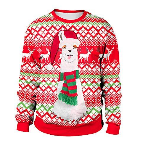 YWLINK Damen Weihnachten Plus GrößE Niedlich Alpaka Gedruckt Sweatshirt Tops Bluse(M, Rot)