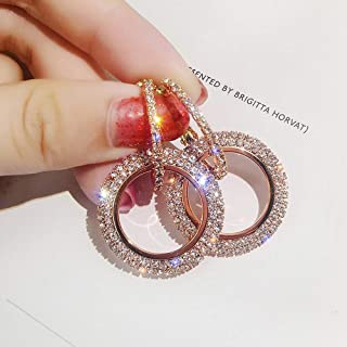 New Fashion Luxury Round Diamond Earrings Women Silver Gold Rosegold Glitter Stu
