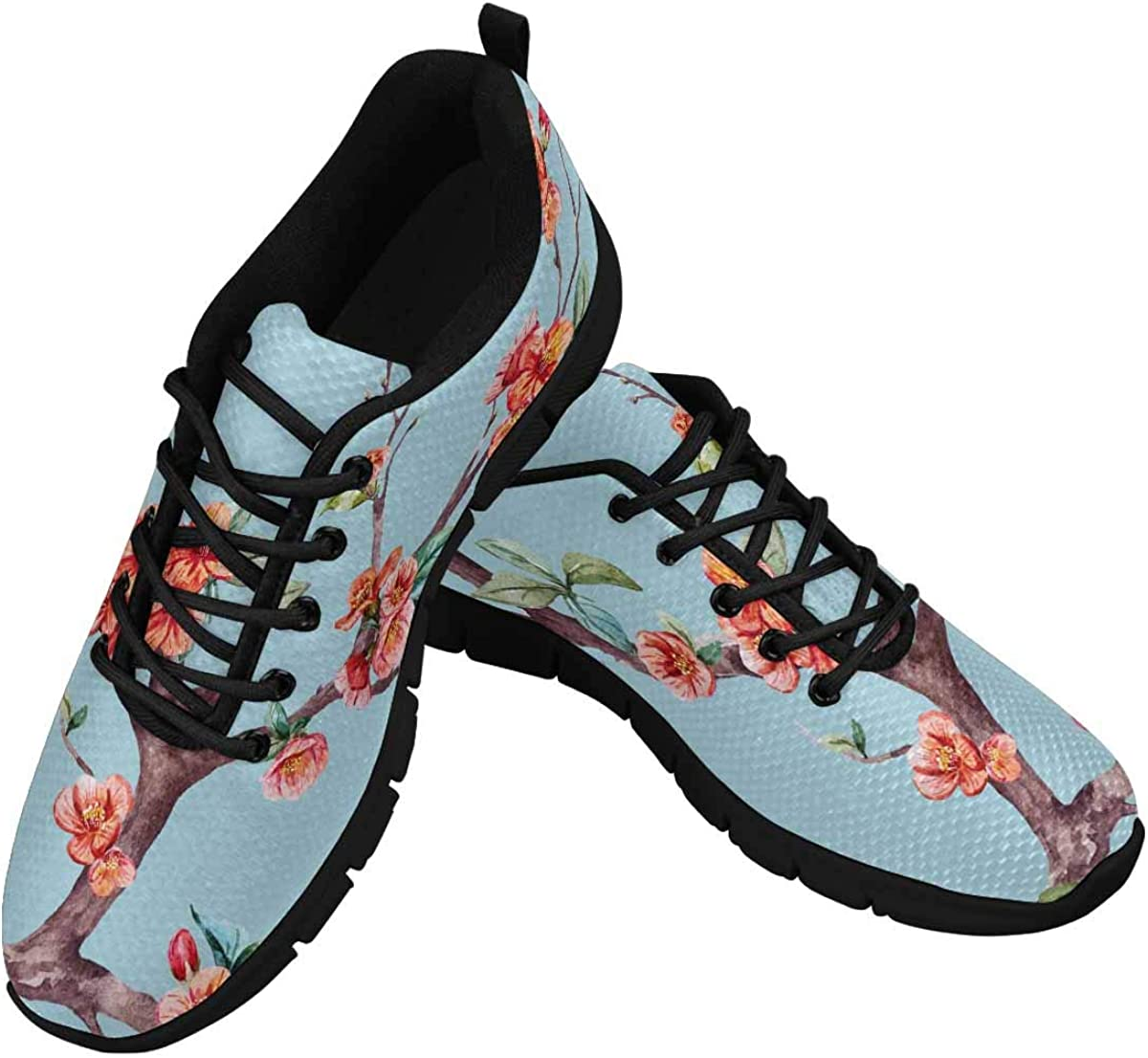 INTERESTPRINT Japanese Cherry Blossom Women's Running Shoes Mesh Breathable Sports Casual Shoes