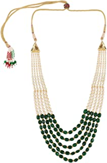 Indian Bollywood Multi Layered Green Faux Emerald Pearl Beads Bridal Wedding Necklace for Women