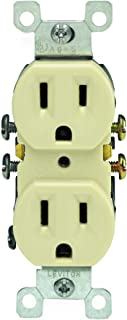 Leviton 5320-IMP 15 Amp, 125 Volt, Duplex Receptacle, Residential Grade, Grounding, 10-Pack, Ivory