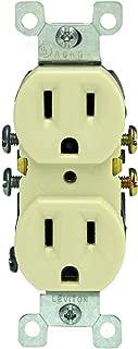 Leviton 5320-IMP 15 Amp, 125 Volt, Duplex Receptacle, Residential Grade, Grounding, 10-Pack, Ivory