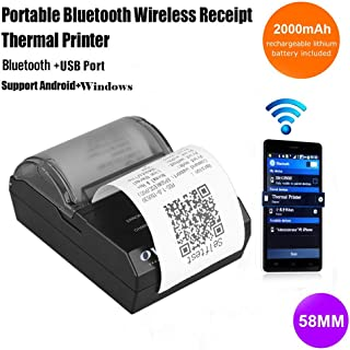 OVIO 58mm Bluetooth 4.0 Wireless Thermal Receipt Printer POS Compatible with ESC/POS Print Commands with Rechargeable Battery