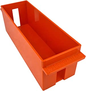 Extra-Capacity Rolled Coin Plastic Storage Tray, Quarters, Orange (2 Trays)