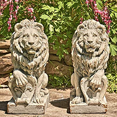 """Zaer Ltd. Magnesium Pair of Lion Statues (Outdoor Safe) (21"""" Tall w/Shield (Set of 2))"""