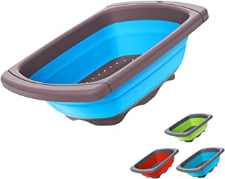 Collapsible Colander - Over the Sink teal colander - Kitchen Strainer and Colander with Extendable Handles   Veggies, Frui...