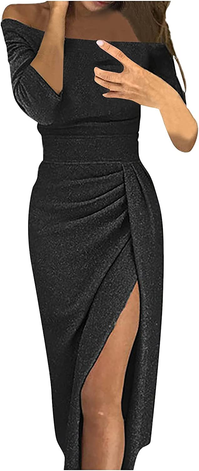 67% OFF of fixed price Women's Off Shoulder Cocktail Dress Formal Limited time cheap sale High Color Slit Solid