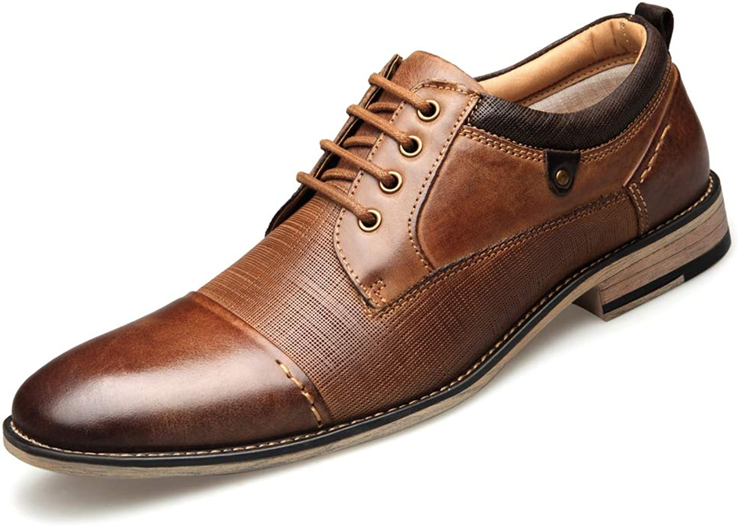 Men's Oxford shoes Classic Modern Round Head Captoe shoes Embossed Dress lace-up shoes